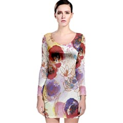 Watercolor Spring Flowers Background Long Sleeve Velvet Bodycon Dress by TastefulDesigns