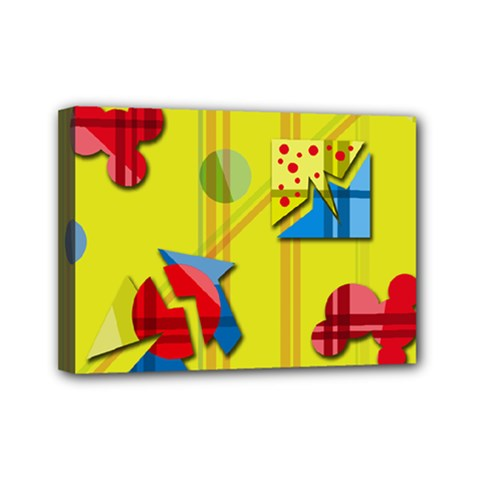 Playful Day   Yellow  Mini Canvas 7  X 5  by Valentinaart
