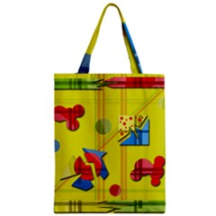 Playful Day   Yellow  Zipper Classic Tote Bag by Valentinaart