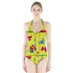 Playful Day   Yellow  Halter Swimsuit by Valentinaart