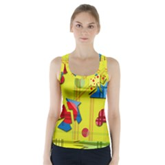 Playful Day   Yellow  Racer Back Sports Top by Valentinaart