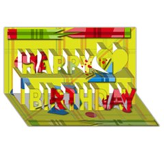 Playful Day   Yellow  Happy Birthday 3d Greeting Card (8x4) by Valentinaart