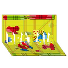 Playful Day   Yellow  Best Sis 3d Greeting Card (8x4) by Valentinaart