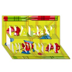 Playful Day   Yellow  Happy New Year 3d Greeting Card (8x4)