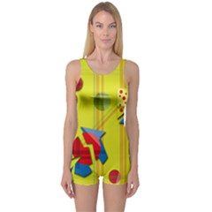 Playful Day - Yellow  One Piece Boyleg Swimsuit by Valentinaart