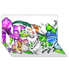 Tropical Hibiscus Flowers Best Friends 3d Greeting Card (8x4) by EverIris