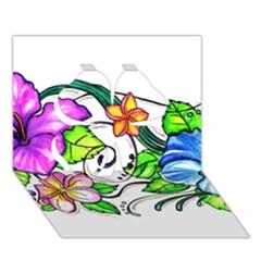 Tropical Hibiscus Flowers Clover 3d Greeting Card (7x5) by EverIris
