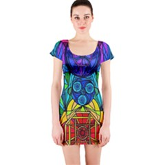 Arcturian Conjunction Grid - Short Sleeve Bodycon Dress