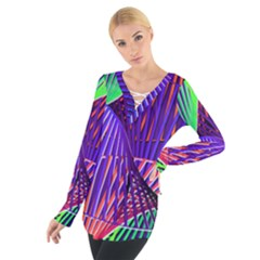 Colorful Rainbow Helix Women s Tie Up Tee by designworld65