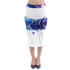 Watery Feather Midi Pencil Skirt by EverIris