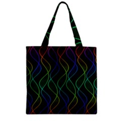 Rainbow Helix Black Zipper Grocery Tote Bag by designworld65