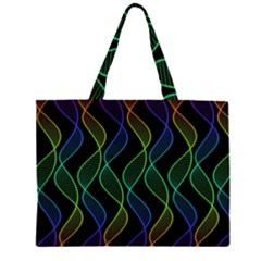 Rainbow Helix Black Zipper Large Tote Bag by designworld65