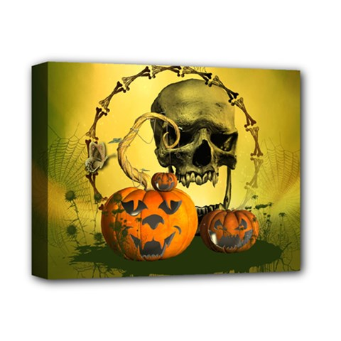 Halloween, Funny Pumpkins And Skull With Spider Deluxe Canvas 14  X 11  by FantasyWorld7