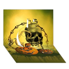 Halloween, Funny Pumpkins And Skull With Spider Apple 3d Greeting Card (7x5) by FantasyWorld7