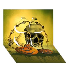 Halloween, Funny Pumpkins And Skull With Spider Clover 3d Greeting Card (7x5) by FantasyWorld7