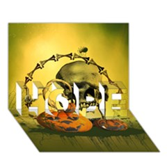 Halloween, Funny Pumpkins And Skull With Spider Hope 3d Greeting Card (7x5) by FantasyWorld7