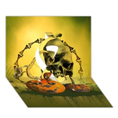 Halloween, Funny Pumpkins And Skull With Spider Ribbon 3d Greeting Card (7x5) by FantasyWorld7