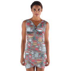 Jam Pattern Wrap Front Bodycon Dress by Mishacat
