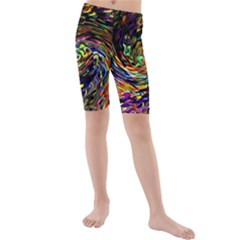 Abstract Art, Colorful, Texture Kids  Mid Length Swim Shorts by AnjaniArt