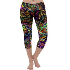 Abstract Art, Colorful, Texture Capri Yoga Leggings by AnjaniArt