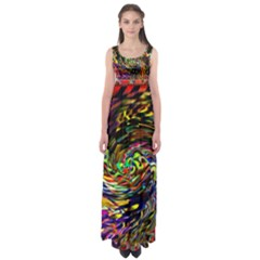 Abstract Art, Colorful, Texture Empire Waist Maxi Dress by AnjaniArt