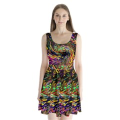 Abstract Art, Colorful, Texture Split Back Mini Dress  by AnjaniArt