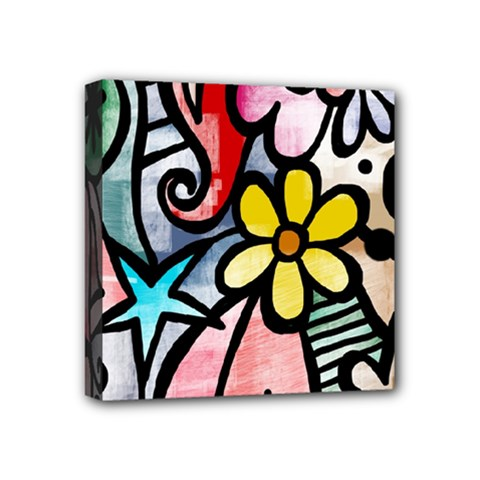 Abstract Doodle Mini Canvas 4  X 4