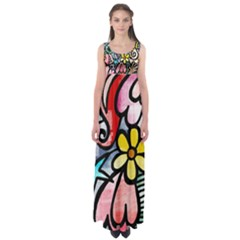 Abstract Doodle Empire Waist Maxi Dress