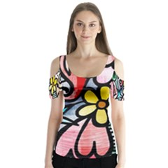 Abstract Doodle Butterfly Sleeve Cutout Tee