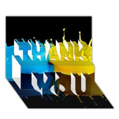 Bicolor Paintink Drop Splash Reflection Blue Yellow Black Thank You 3d Greeting Card (7x5) by AnjaniArt