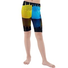 Bicolor Paintink Drop Splash Reflection Blue Yellow Black Kids  Mid Length Swim Shorts by AnjaniArt