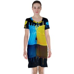 Bicolor Paintink Drop Splash Reflection Blue Yellow Black Short Sleeve Nightdress by AnjaniArt