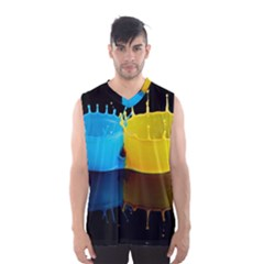 Bicolor Paintink Drop Splash Reflection Blue Yellow Black Men s Basketball Tank Top by AnjaniArt