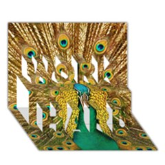 Bird Peacock Feathers Work Hard 3d Greeting Card (7x5) by AnjaniArt