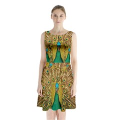 Bird Peacock Feathers Sleeveless Chiffon Waist Tie Dress