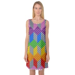 Block Pattern Kandi Pattern Sleeveless Satin Nightdress