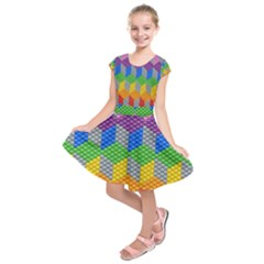 Block Pattern Kandi Pattern Kids  Short Sleeve Dress by AnjaniArt