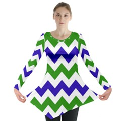 Blue And Green Chevron Pattern Long Sleeve Tunic