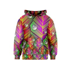Bubbles Colorful Leaves Kids  Pullover Hoodie