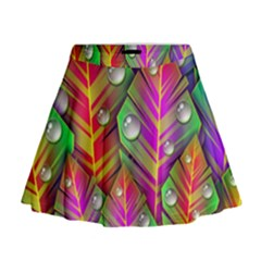 Bubbles Colorful Leaves Mini Flare Skirt by AnjaniArt