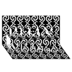 Black And White Pattern Merry Xmas 3d Greeting Card (8x4) by Valentinaart