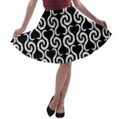 Black And White Pattern A-line Skater Skirt by Valentinaart