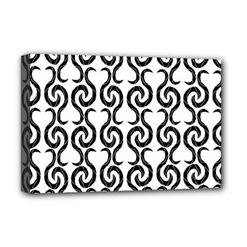 White And Black Elegant Pattern Deluxe Canvas 18  X 12   by Valentinaart