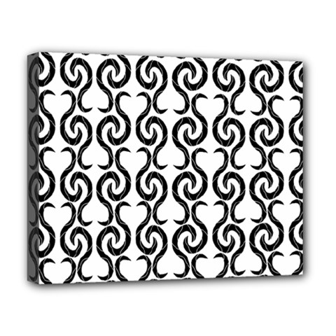 White And Black Elegant Pattern Deluxe Canvas 20  X 16   by Valentinaart