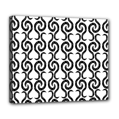 White And Black Elegant Pattern Deluxe Canvas 24  X 20   by Valentinaart