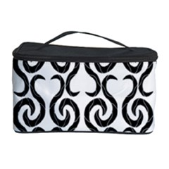 White And Black Elegant Pattern Cosmetic Storage Case by Valentinaart