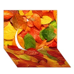 Colorful Fall Leaves Circle 3d Greeting Card (7x5)