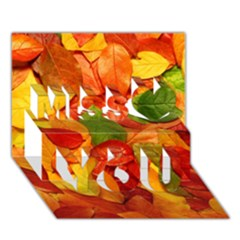 Colorful Fall Leaves Miss You 3d Greeting Card (7x5) by AnjaniArt