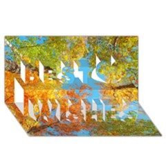 Colorful Leaves Sky Best Wish 3d Greeting Card (8x4) by AnjaniArt