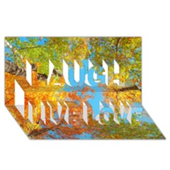 Colorful Leaves Sky Laugh Live Love 3d Greeting Card (8x4) by AnjaniArt